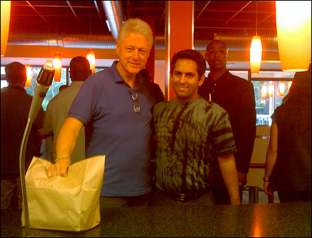 Bill Clinton with Z Burger owner Peter Tabibian at the Tenleytown restaurant Saturday night. (Photo - Peter Tabibian, Washington Post)