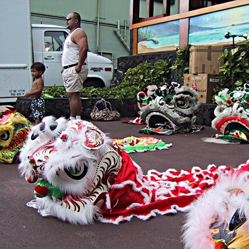 getting ready for the lion dance - 2002